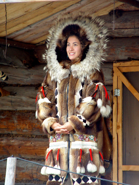 A beautiful hand made parka ready to be shipped to the Smithsonian for display.  Fairbanks, Alaska.