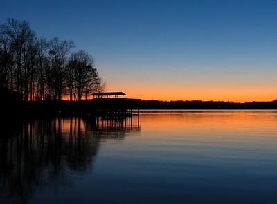 Sunset on the boathouse on Smith Mtn. Lake, Va.