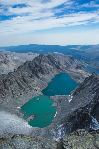 Looking down at Glacier Lake from the top of Cloud Peak Mountain.