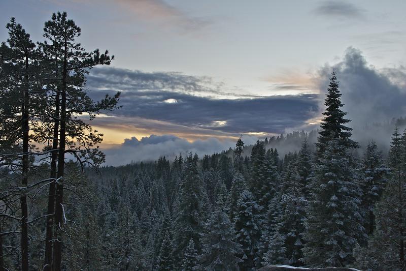 Fog Engulfing the Eastern Sierra, Sequoia National Park, California