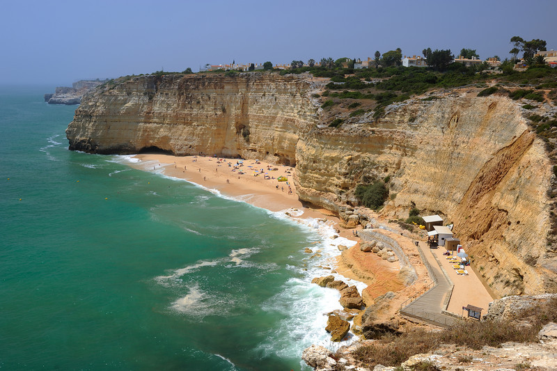 Panaromic view of Cavoeorio Beach in Algarve Portugal