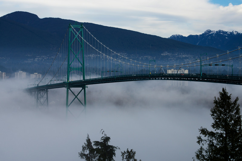 Lions Gate Bridge in fog.