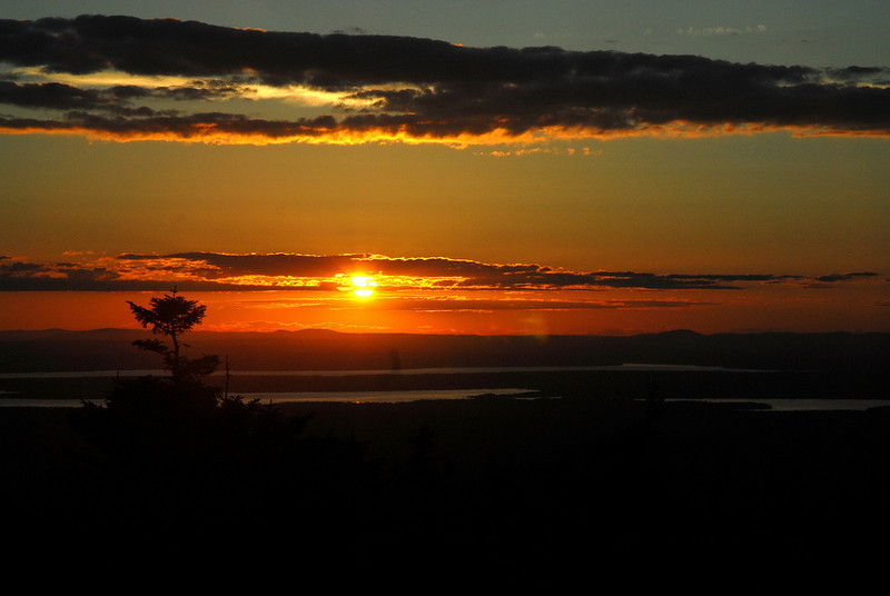 Sunset from Cadillac Mountain in Acadia National Park.