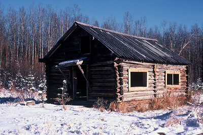 Old log cabin near Swan Hills, Alberta. Nov 1990