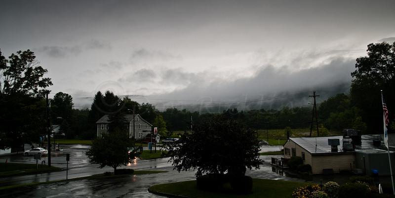 Rainy, cloudy view from Cozy Corner Motel, Williamstown, MA.<br /> Version III