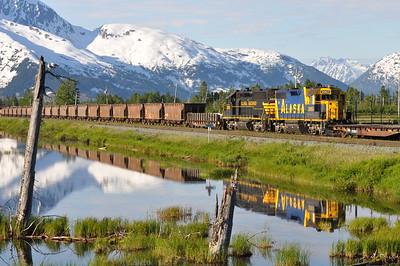 Alaska Railroad coal train at Portage, Alaska