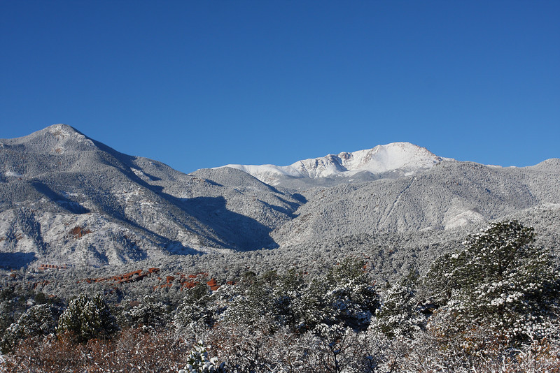 Fresh blanket of snow on Pikes Peak, Colorado Springs, Colorado. October 27 2011