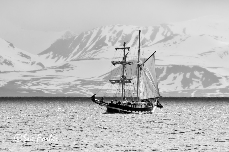 Old sailing boat in the Arctic seas around Spitsbergen