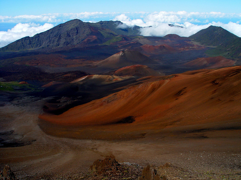 A shot of the Haleakala National Park looking east toward the Big Island.  This is the area of Sliding Sands Trail.