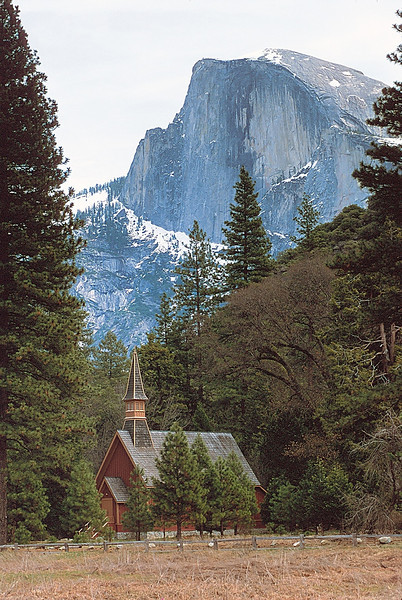 Chapel and Half Dome, Yosemite National Park, California