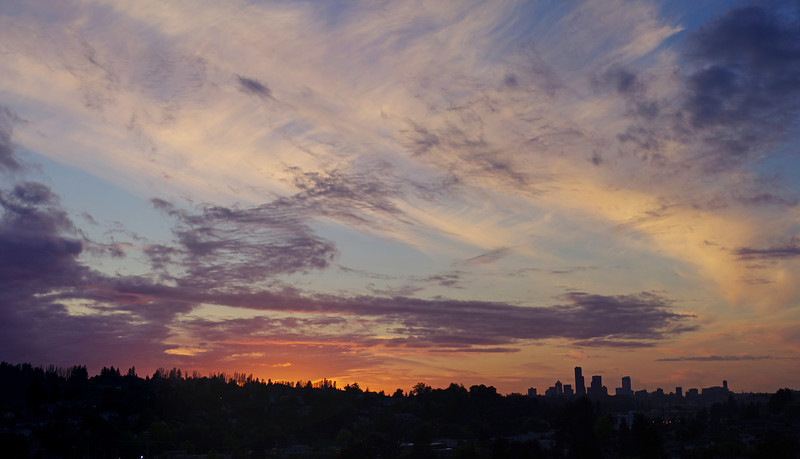 A stunning June sunset over the Seattle skyline.  A 4 photo portrait panorama, using the glorious Pentax FA 43mm 1.9 Limited lens.
