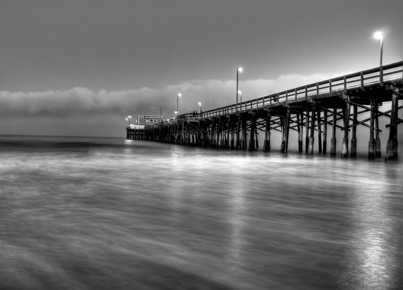Newport Beach Pier Dawn bw