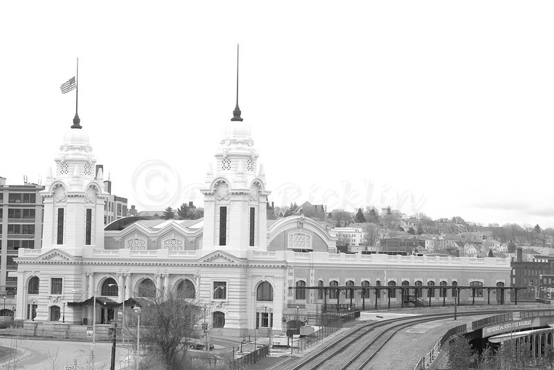 The renovated Union Station, Worcester, MA from Medical City.