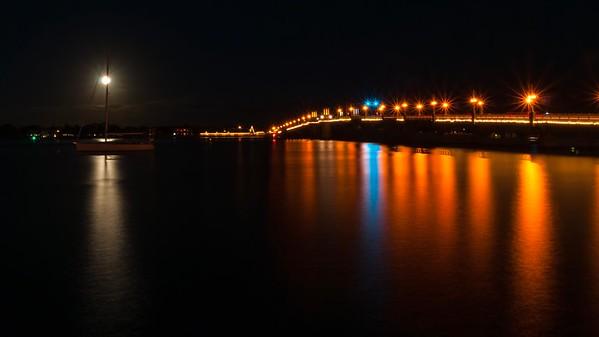 Bridge of Lions on a Full Moon Night