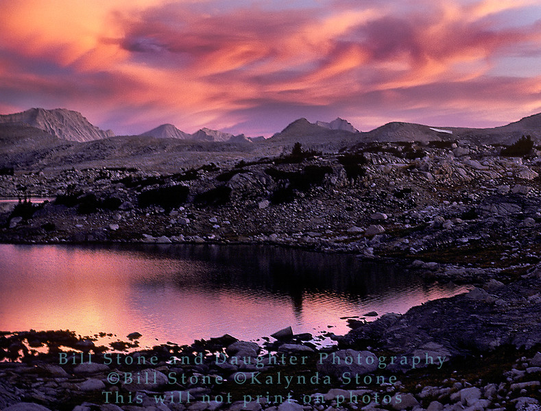 Sunset at Muriel Lake, Fresno County, California, humphrey's basin