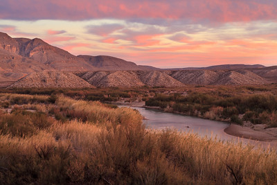 Twilight pastels overlooking the Rio Grande River towards Boquillas Canyon.  Big Bend National Park, TX.  Winter 2013.