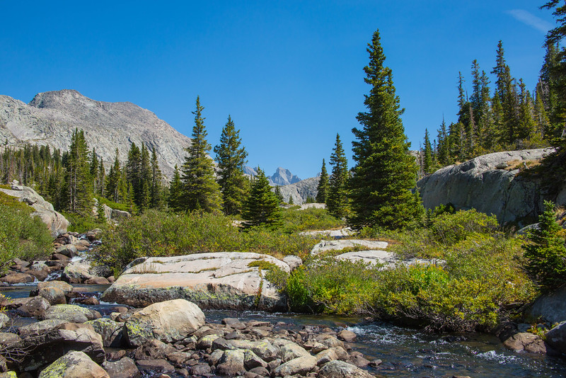 A mountain stream with Cloud Peak in the very back of the photo.