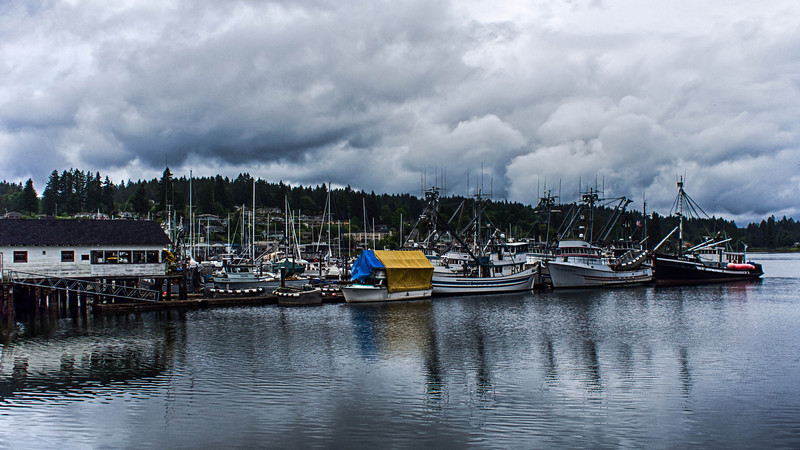 Gig Harbor, Washington on a gloomy, ominous looking late May day.