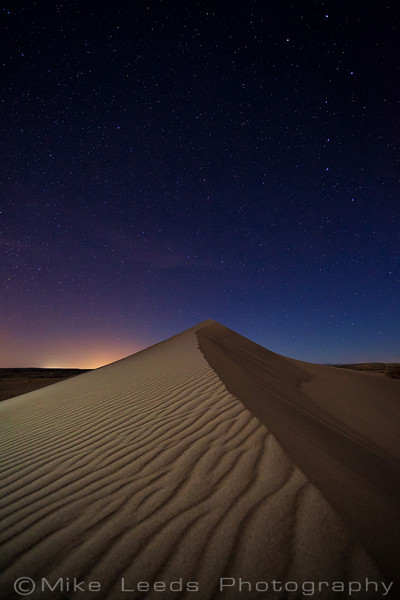 Bruneau Dunes under a night sky in March, Idaho.