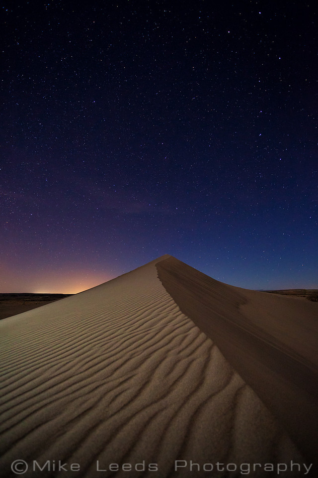 Bruneau Dunes under a night sky in March, Idaho.