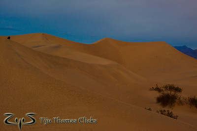 Mesquite Sand Dunes / Death Valley National Park / California  This is at sunrise on the Mesquite Sand Dunes in Death Valley National Park. I thought I will look for some ripples in the sand; but it was tough to get the colors as the sunrise was not as expected due to the clouds which came and spoiled the party. Still got a bit of red coming through. I saturated the picture to bring out the red color in the sand.