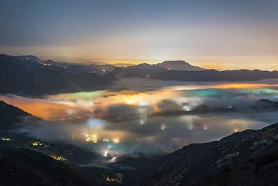 Low fog over Malibu and the Santa Monica Mountains