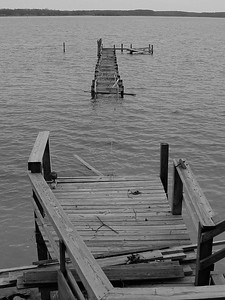 My in-law's dock after Hurricane Isabelle in Sept, 2003 . Yankee Point, Va.