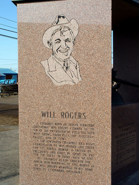A memorial to Will Rogers and Willie Post who died while flying near Barrow, Alaska.