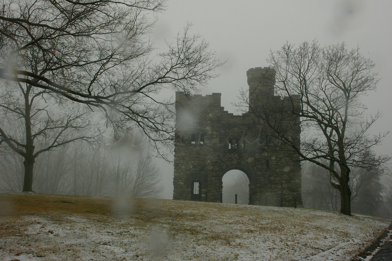 Bancroft Tower in snow and fog, Salisbury Park, Worcester, MA