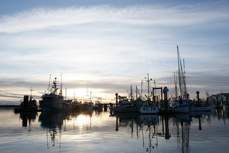 Steveston BC at sunset.