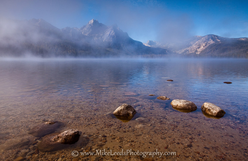 Stanley Lake with Mt. McGown emerging from the fog