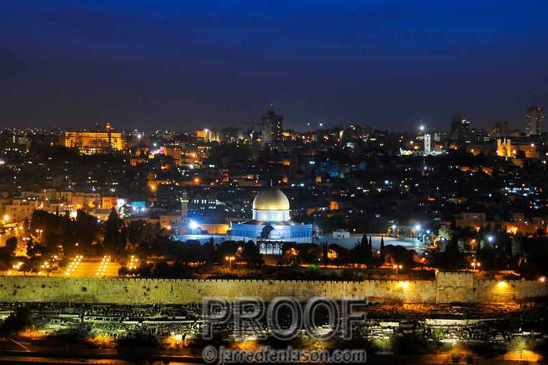 """Jerusalem at Night"" taken from the Mount of Olives"