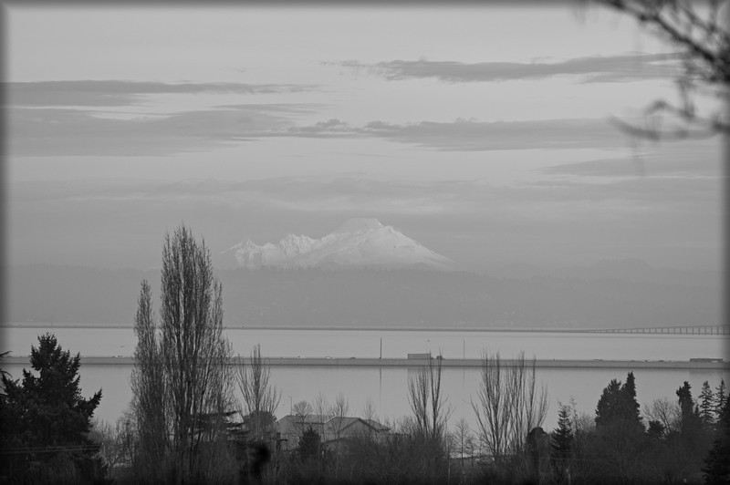 Mt. Baker from south Seattle, a foggy morning across Lake Washington