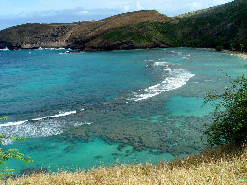 The view overlooking the popular tourist spot of Hanauma Bay in Oahu, Hawaii.  This is actually an ancient cauldera that has been washed out by the sea!