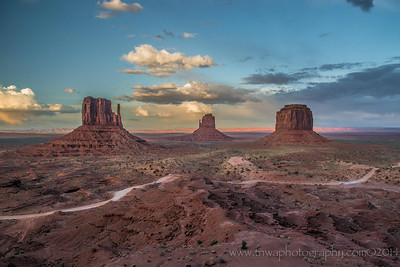 Two Mittens & A Butte Monument Valley Navajo Native Park Arizona © 2014