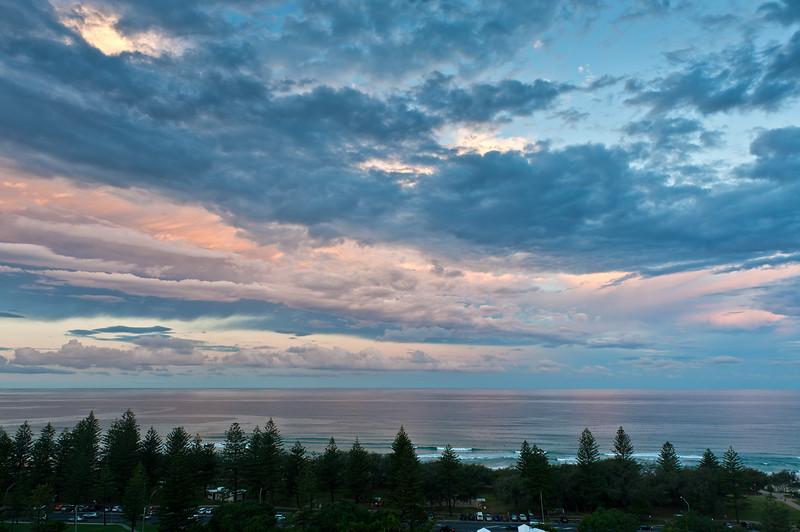 Main Beach sunset, Gold Coast, Queensland.