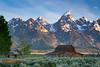 Mormon Barn. Grand Teton National Park in the background.  Jackson Hole, Wyoming.