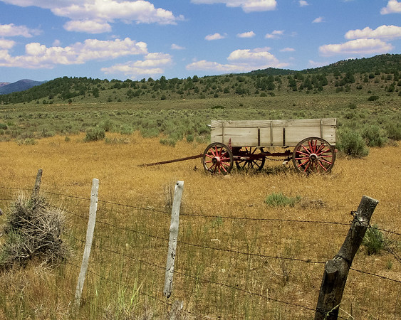 Wagon and Fence on Farm near Bridgeport, CA