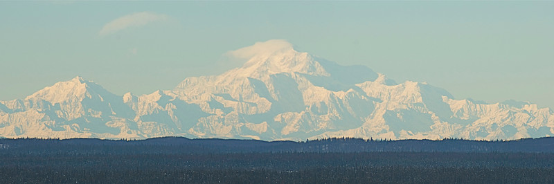 Mt. McKinley from Big Lake, Alaska about 120 miles away. Jan. 2010.  (Russia is farther to the left.)