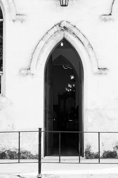 Old church doorway black and white