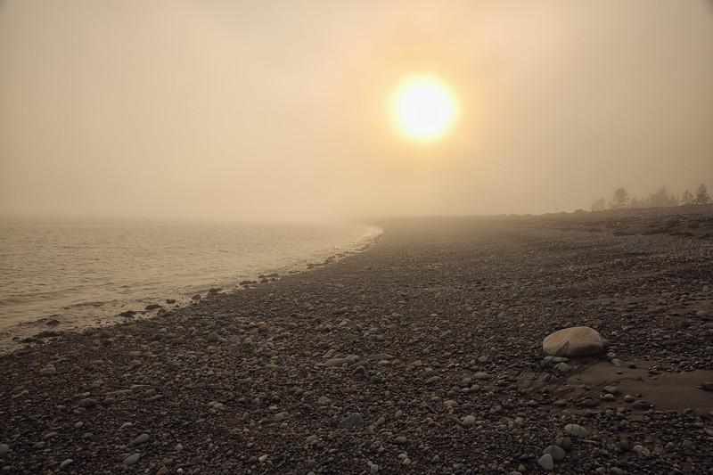 New Brunswick coastline in the fog