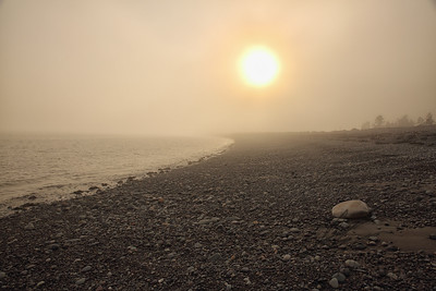 New Brunswick coastline in the fog