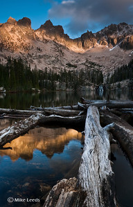 Cramer Lake in the Sawtooth Mountains on a September evening, Idaho.