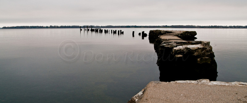 Old Payson Pier reaching out towards Popasquash Point. Walker's Cove, Bristol Harbor