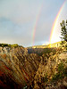 A double rainbow over Yellowstone Canyon.