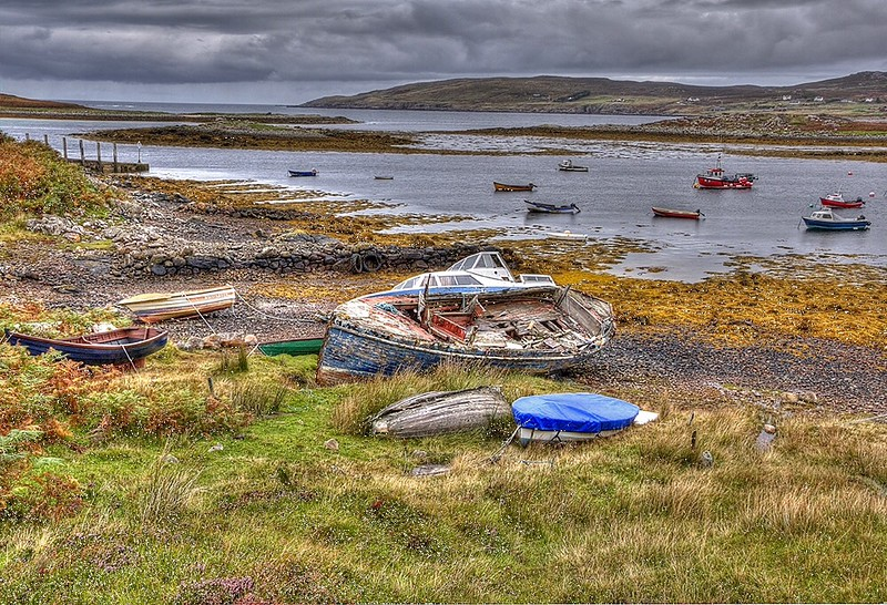 Fishing village in highlands in Scotland