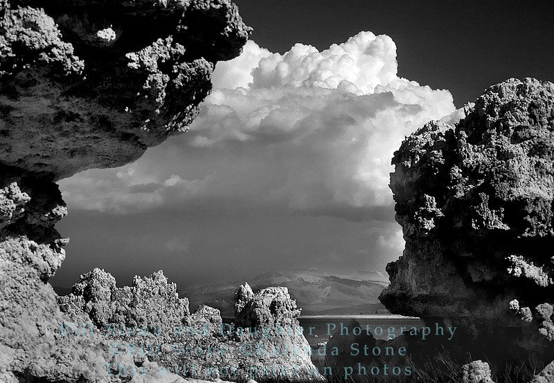 Tufas and clouds black and white, mono lake, california
