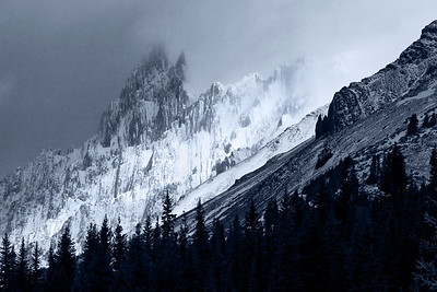 October 18, 2009: Partially obscured mountain peak along HWY 40 in Kananaskis Country (Alberta, CANDA).