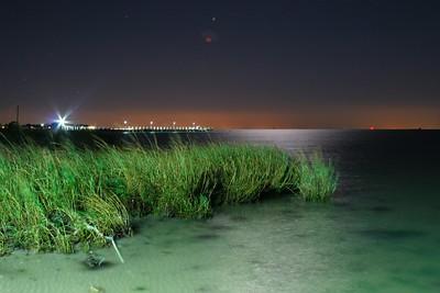 Moonlit Chesapeake Bay, looking south towards Virginia Beach, Va. Cherrystone Campground, Va.