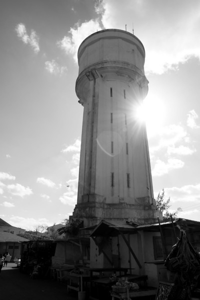 Water tower Nassau Bahamas in black and white